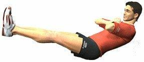 Exercice de gainage pour travailler l'ensemble des abdominaux et perdre du ventre en étant assis avec les jambes tendues