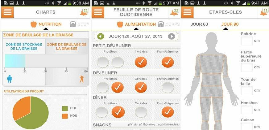 Application TR90 de Nuskin pour analyser votre progression et perte de poids